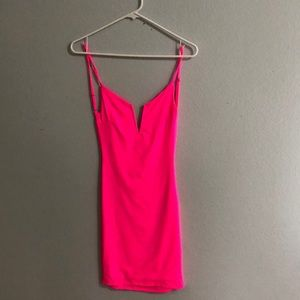 bodycon neon backless pink dress